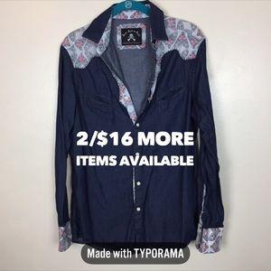2/$16 Rock Roll-N-Soul   Chambray Long Sleeve